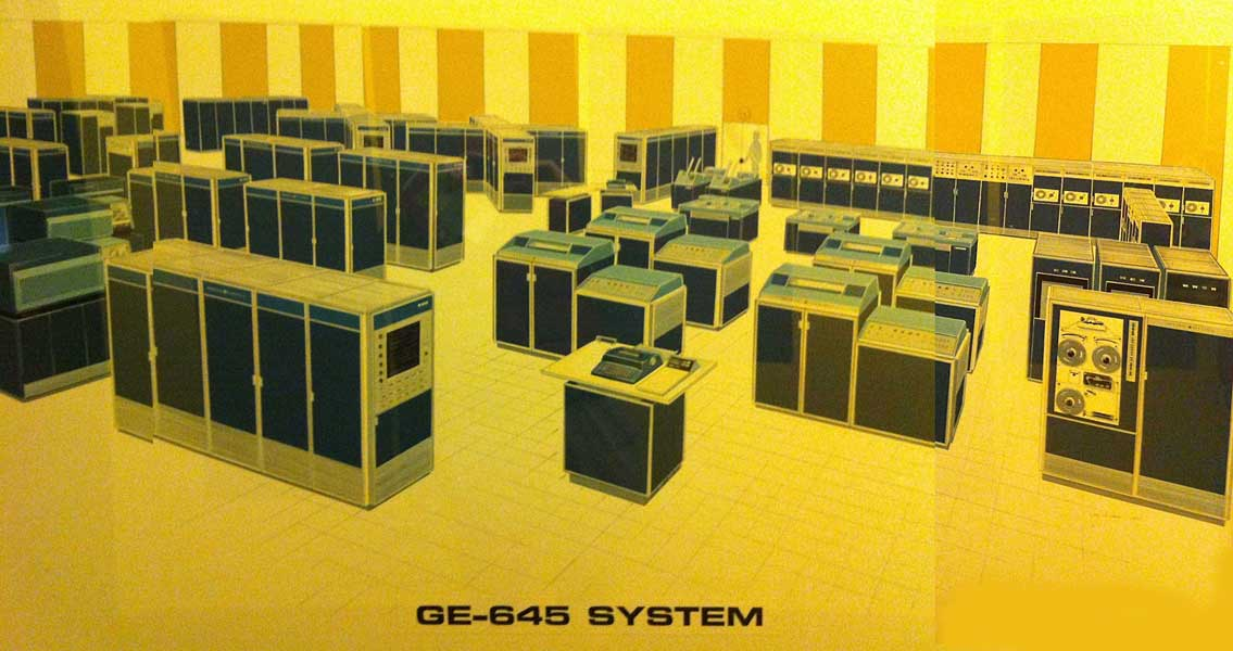 mainframe computer, over 50 cabinets